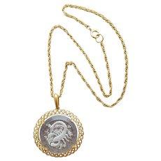 Scorpio Necklace Glass Intaglio Crown Trifari 1970s