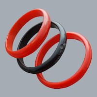 3 Bakelite Bangle Bracelets Carved Black and Red
