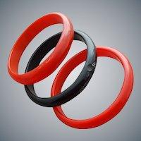 3 Bakelite Bangle Bracelets Carved Black and Red
