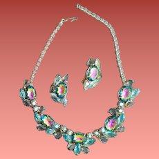 Juliana Necklace Earrings Watermelon Blue Smoke AB