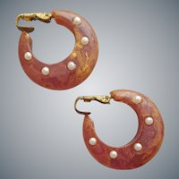 Bakelite Clip Earrings Brown Swirled with Gold Faux Pearls