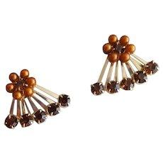 Vintage Earrings Rhinestone Faux Pearl Screw Back