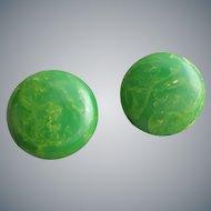 Beautiful Bakelite Earrings Swirling Green with Yellow