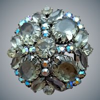 1960s Smoke Rhinestone Brooch Large Flashy Domed