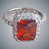Sterling Silver Ring Red and Crystal CZ size 6-3/4