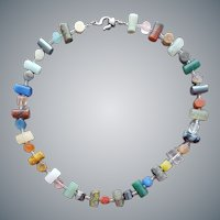 Multi Gem Stone Necklace Sterling Clasp
