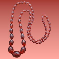 Faceted Bakelite Bead Necklace 40 inches Long