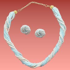 Vintage Torsade Necklace and Earrings Blue Beads Faux Pearls
