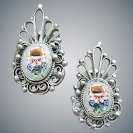 Vintage Micro Mosaic Earrings Tiny Little Flowers Clip Style