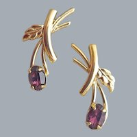 Delicate 1970s Pierced Earrings Amethyst Rhinestones