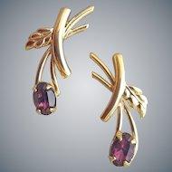 Delicate 1970s Pierced Earrings Amethyst Rhinestones