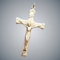 Sterling Crucifix Pendant / Necklace by Princess Pride Vermeil Cross