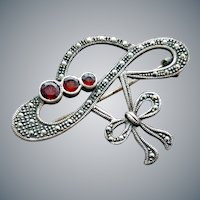 Sterling Marcasite Garnet Brooch Hat Shaped 8.2 Grams