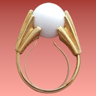 Dramatic White Orb Ring Ultra Mod Adjustable Size 4 - 8