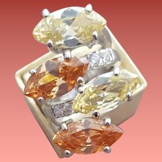 Sterling Silver Cocktail Ring Marquise Cubic Zircon Lemon and Topaz
