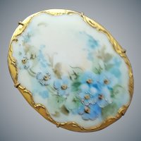 Antique Hand Painted Porcelain Brooch Forget-Me-Nots