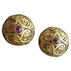 MMA Pierced Earrings Gold Tone with Garnets