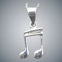 Sterling Silver Necklace Double Bar Musical Note Charm