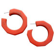 Bakelite Pierced Earrings Wisp of Black in Red