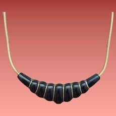 Black Bakelite Necklace Hand Carved Graceful Shape