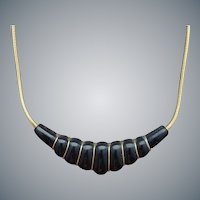 Black Bakelite Necklace Hand Carved Graceful Shape