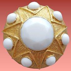 Large Benedikt N.Y. Brooch White Milk Glass in Gold Tone Star