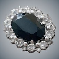 Vintage Brooch 1970s Black and Crystal Rhinestones