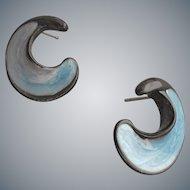 Monet Pierced Earrings Swirling Blue Enamel 1970