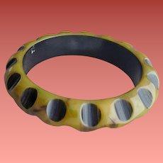 Carved Resin Washed Bakelite Bangle Bracelet