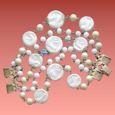 1960s Faux Pearl Crystal Bracelet Smaller Size