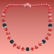 Vivacious Blackberry and Red Cherry Necklace 1950s