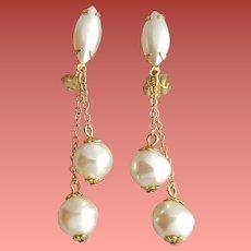 1960s Earrings Faux Pearl Dangle Mid Century Modern