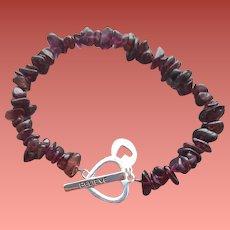 Real Garnet Bead and Sterling Bracelet