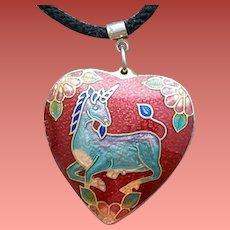 1970s Puffy Heart Cloisonne Necklace Unicorn