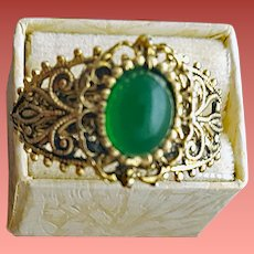 1960s Costume Jewelry Ring Fancy Metalwork