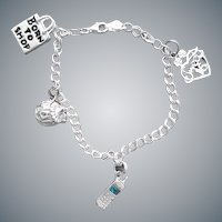 Sterling Double Link Bracelet with 4 Charms