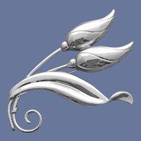Elegant 1940s Sterling Silver Brooch Bench Made