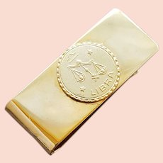 Vintage Money Clip Libra Zodiac Medallion