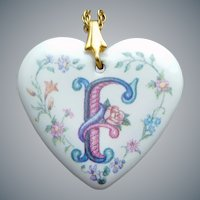 1970s Porcelain Necklace with Fancy F Initial