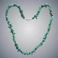 Malachite Nugget Bead Necklace Barrel Clasp