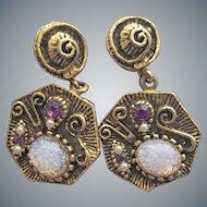 Fancy Faux Opal Gemstone Earrings Screw Back