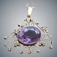 Edwardian Amethyst Necklace Filigree Setting