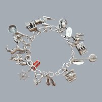 Loaded Sterling Silver Charm Bracelet Rare Amish Mormon 48.3 Grams