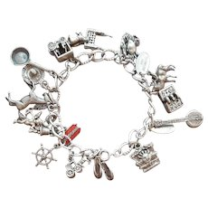 22e57418a7c9a Fantastic 1940's Loaded Sterling Silver Charm Bracelet 14 CHARMS : A ...
