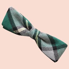 1950s Clip on Bow Tie Green Gray Plaid
