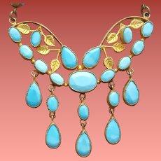 1930s Necklace Czechoslovakia Blue Glass and Brass Beauty
