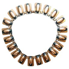 1950s Copper Bib Necklace by Renoir Dramatic Mid Century