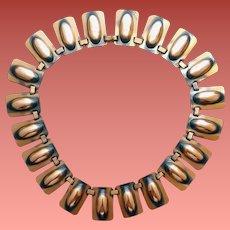 1950s Copper Bib Necklace by Renoir Dramatic Mid Century