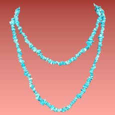 Turquoise Nugget Chip Bead Necklace Extra Long