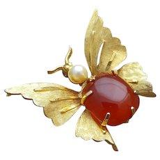 Butterfly Brooch Pearl Head Carnelian Agate Body Gold Tone Wings